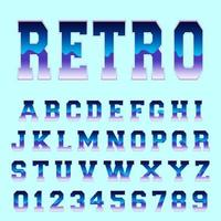 Retro alphabet font template