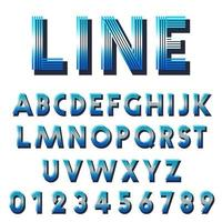 Retro font template. Set of letters and numbers lines design