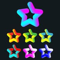3d colorful star set vector