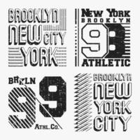 Set di timbri t-shirt vintage di Brooklyn New York