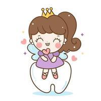 Cute fairy tooth angle cartoon illustration oral dental hygiene play happily