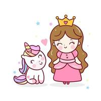 Cute Unicorn princess with kawaii girl cartoon, lovely friendship