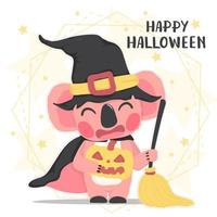 cute animal happy pink koala in Halloween witch costume with broom, Happy Halloween