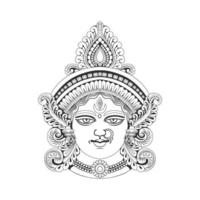 India Goddess Durga head illustration vector