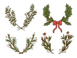 Christmas wreath elements premium vector