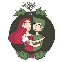 Christmas kiss under the mistletoe vector