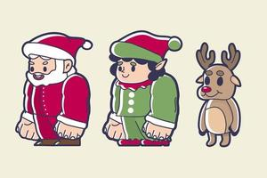 santa gnome and reindeer cute character set vector