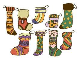 Doodle de Navidad calcetines premium vector