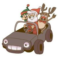 Christmas santa, gnome and reindeer riding a car vector