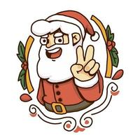 Christmas santa peace sign vector
