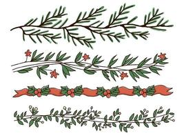Christmas handdrawn border design set vector