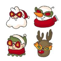 Christmas profile picture of santa snowman dwarf and reindeer vector