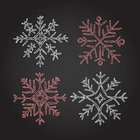 Christmas chalk wreath elements premium vector