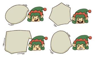 Christmas cute elf bubble text set