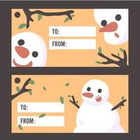 Elementos de cartão de boneco de neve de natal vetor Premium