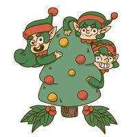 Christmas elf hiding behind christmas tree vector