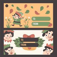 Christmas gnome cute gift card vector