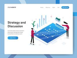 Landing page template of Strategy and Discussion vector