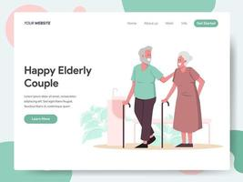Landing page template of Happy Elderly Couple