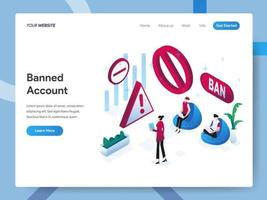 Landing page template of Banned Account