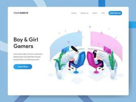 Landing page template of Boy and Girl Gamers  vector