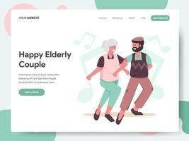 Landing page template of Happy Elderly Couple Dancing