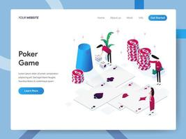 Landing page template of Poker Game  vector