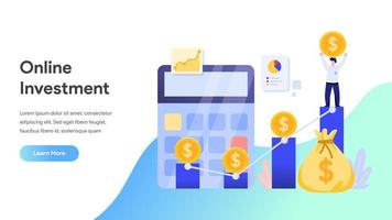 Online Investment Concept landing page vector