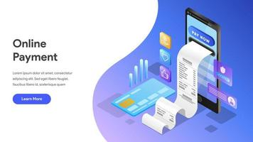 Landing page template of Online Payment  with Mobile Phone  vector