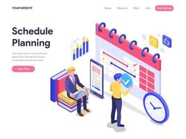 Schedule Planning Concept. Flat isometric vector illustration on White Background. Template for landing page, ui, web, homepage, banner, infographics, hero images