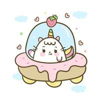 Cute Unicorn cat vector astronaut cartoon on space pastel color Kawaii character