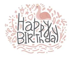 Happy Birthday Hand Drawn Flamingo Style for Greeting Cards