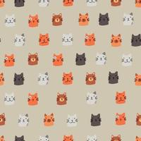 Modern Cat Faces Pattern