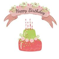 Happy Birthday Card with cute pink green cake.