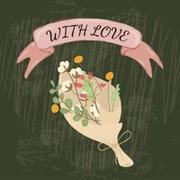 Bouquet of flowers in craft paper and ribbon with inscription with love.  vector