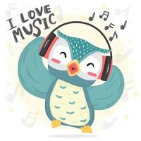 happy dance blue owl listen music and sing song with headphones