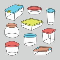 Set Of Doodled Containers vector