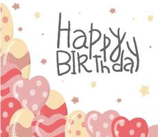 Happy Birthday. Hand drawn typography vector