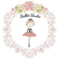 Little cute ballerina princess of the ballet in circle floral frame