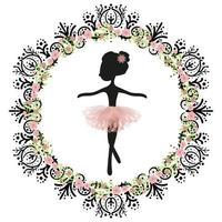 Black silhouette and pink tutu little cute ballerina princess of the ballet.
