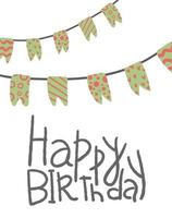 Happy Birthday. Hand drawn flag banner design for greeting cards