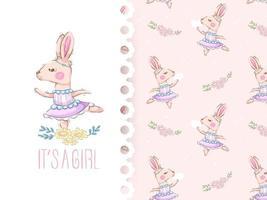 Cartoon schattig konijntje meisje met bloem