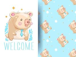 Urso bonito dos desenhos animados com padrão