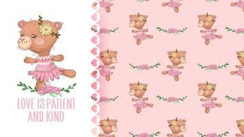 Söt björnflicka för tecknad film med blomman