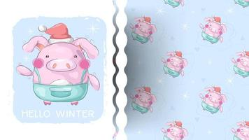 Winter pig cartoon pattern vector