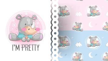 Tecknad gullig noshörning med mönster