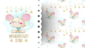 Cartoon cute mouse with pattern vector