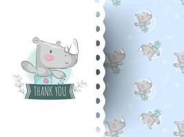 Tecknad gullig noshörning med tackmeddelandet