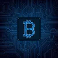 Bitcoin digital currency logo on circuit background vector