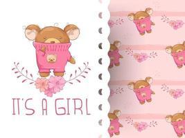 Menina urso de desenho animado com flor